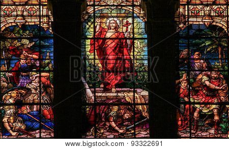 Jesus Rising From The Grave - Stained Glass