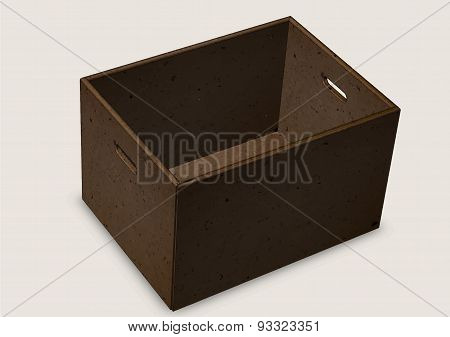 Cardboard Box With Handles On A Grey Background