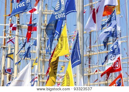 Colorful Flags Of Sailing Ships.