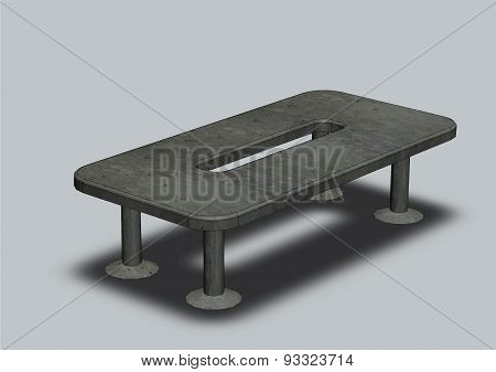 Office Table For Conferences On A Grey Background