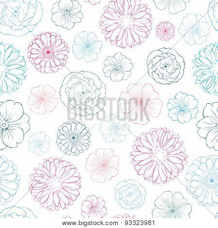 Vector Pink Blue Lineart Flowers Heads Seamless Pattern