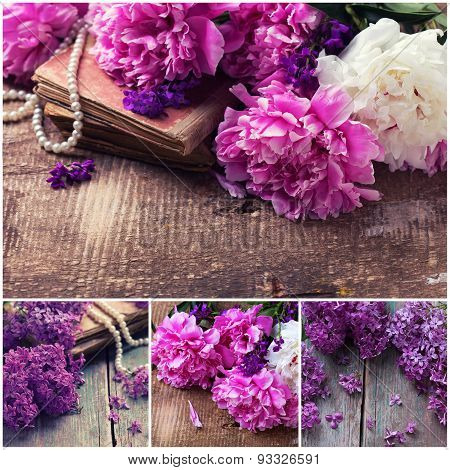 Collage From Photos With Peony And Lilac.