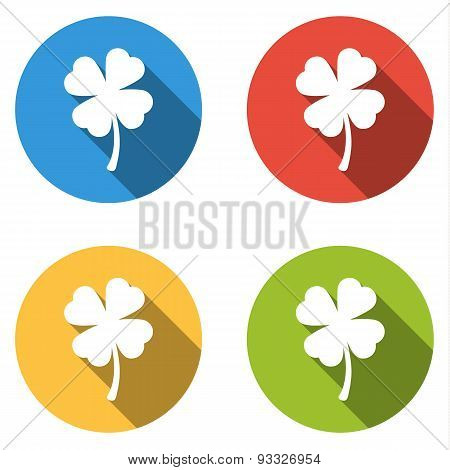 Collection Of 4 Isolated Flat Buttons (icons) For For Shamrock (four-leaf)