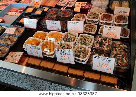 Japanese salad and snack food at Osaka food market