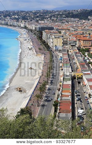 Beach and cityscape of Nice