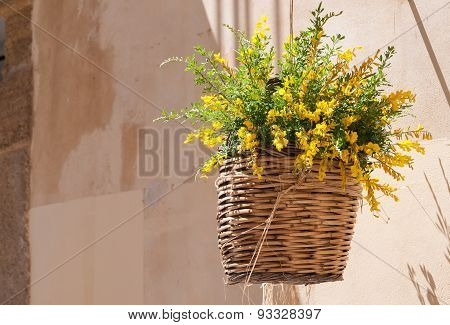 Flowerd Wicker Basket