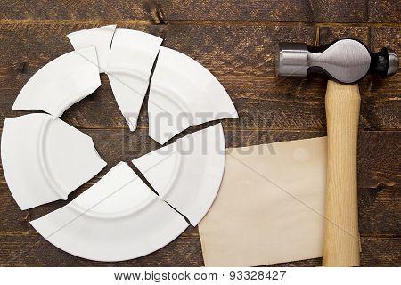 Broken Plate And Hammer