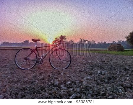 Bicycle On Straw With Rural Morning Light And Vintage.