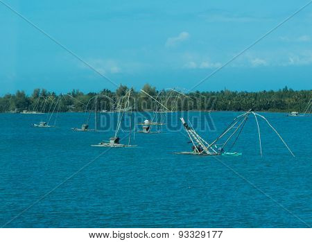 Traditional Fishing Rafts In Blue Bay At Luzon