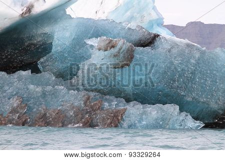 Close Up Of Blue Iceberg In Lake Jokulsarlon