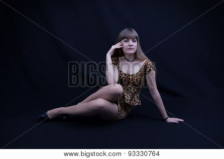 Young Girl In A Leopard Dress