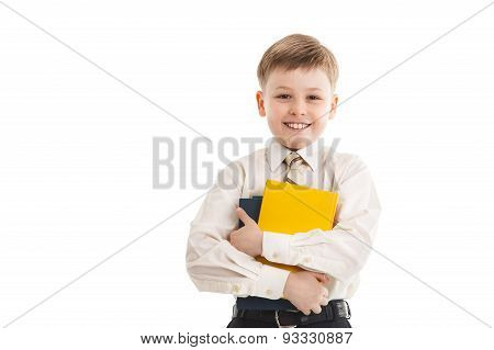 Schoolboy With A Books Smiles Isolated