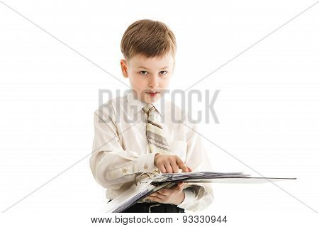 Schoolboy With A Folder Isolated