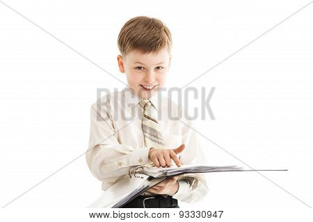 Schoolboy With A Folder Smiles And Points With A Finger Isolated