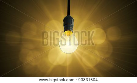 Light bulb swing glow rising,