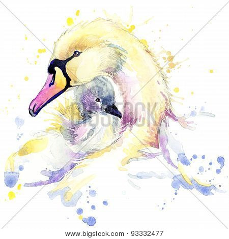 Swan T-shirt graphics, Swan illustration with splash watercolor textured background.