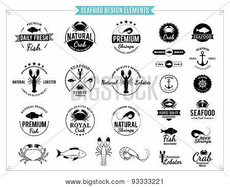 Seafood Labels, Sea Animals and Design Elements