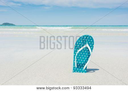 Beach, Slippers On Tropical Beach