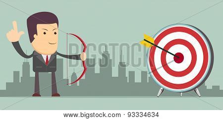 Successful businessman with arrow in the target