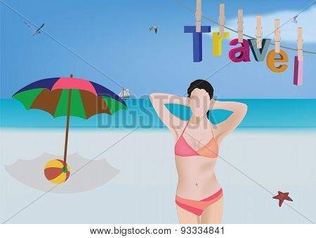 beach landscape with model
