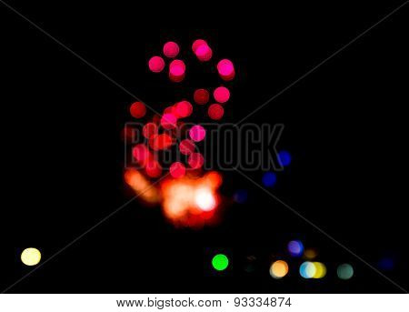 Motion blur Boken effect of Fire work. blurred light for background
