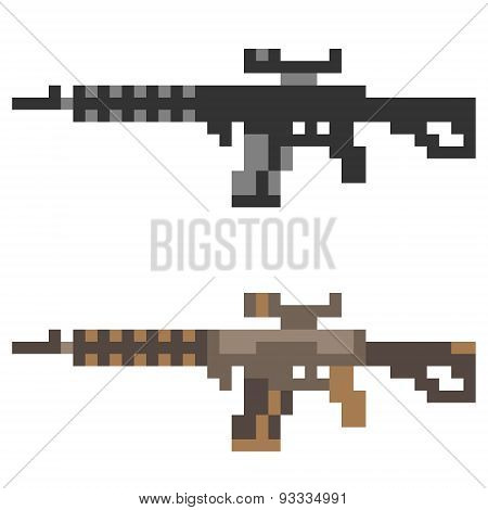 illustration pixel art icon gun assault rifle