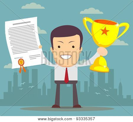 Man proudly standing holding up winning trophy and showing an award certificate. Flat style