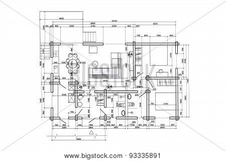 Architectural Home Interior Drawing