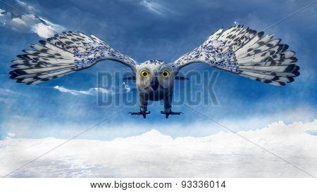 White owl diving - 3D render