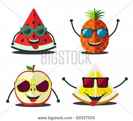 Funny Fruits Set. Design Cartoon Slices Food  Of Pineapple, Lemon, Apple, Watermelon