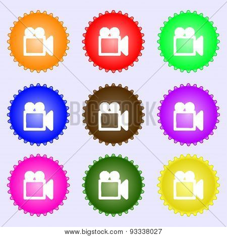 Camcorder Icon Sign. A Set Of Nine Different Colored Labels. Vector
