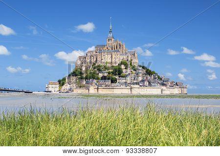 Mont-saint-michel And Green Grass