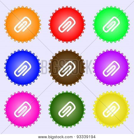 Clip To Paper Icon Sign. A Set Of Nine Different Colored Labels. Vector