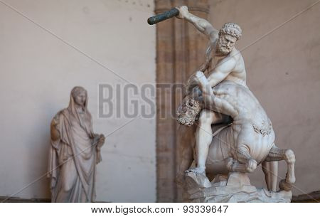 Rennaissnce statue of Hercules killing the Nesso Centaur. Florence