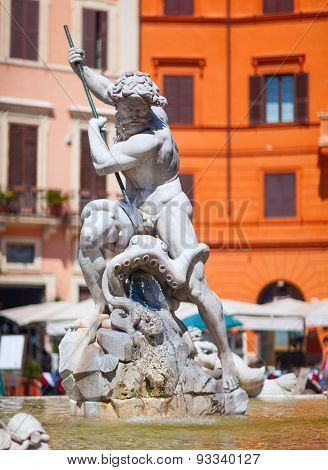 The Fountain of Neptune, at Piazza Navona. Rome