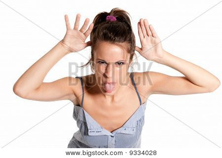 Young Female Cheerful Joking Sticking Out Tongue Isolated On White Background