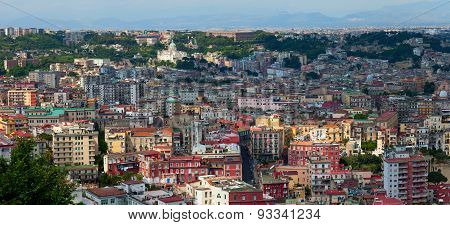 Aerial panoramic view on Naples city center. Italy