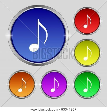 Musical Note, Music, Ringtone Icon Sign. Round Symbol On Bright Colourful Buttons. Vector