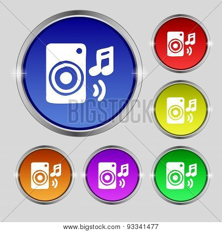 Music Column, Disco, Music, Melody, Speaker Icon Sign. Round Symbol On Bright Colourful Buttons. Vec