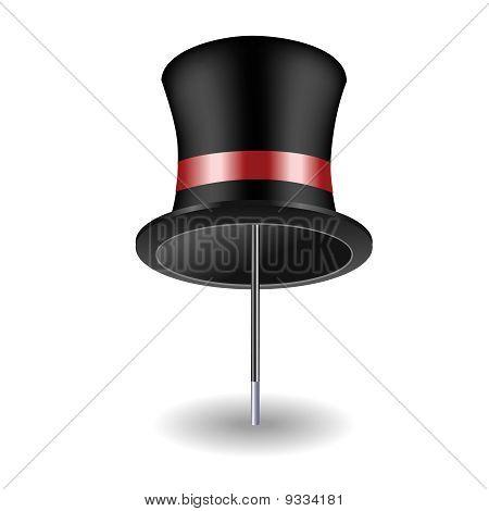 Sombrero en una caña