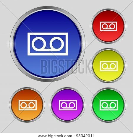 Audio Cassette Icon Sign. Round Symbol On Bright Colourful Buttons. Vector