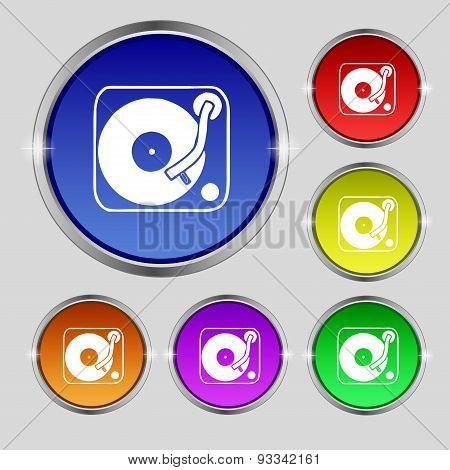 Gramophone, Vinyl Icon Sign. Round Symbol On Bright Colourful Buttons. Vector