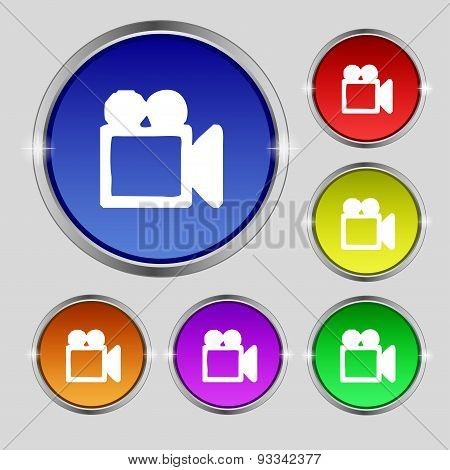 Camcorder Icon Sign. Round Symbol On Bright Colourful Buttons. Vector