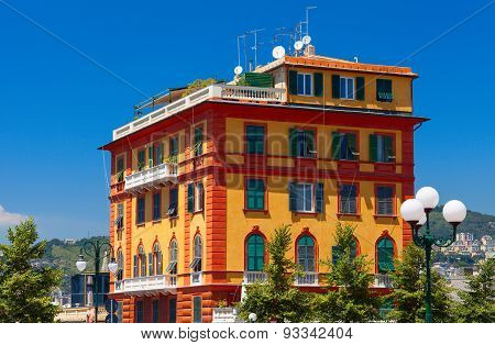 Colorful living building. Genoa, Italy