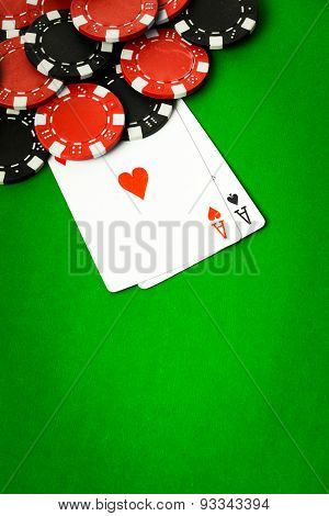 Poker cloth, a deck of cards