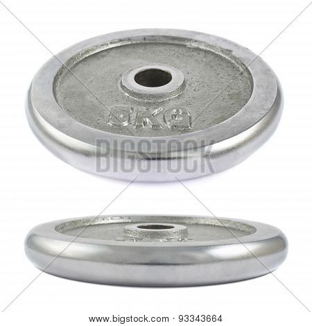 Metal barbell plate isolated