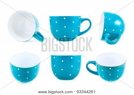 Blue polka dot cup isolated