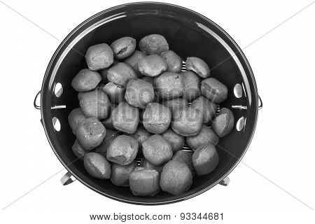 Empty New Clean Bbq Kettle Grill With Charcoal Briquettes Isolated
