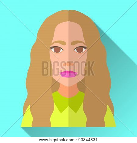 Fashionable Young Woman With Long Hair, Flat Icon With Shadow