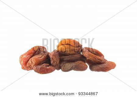 Pile Of Dried Apricot Fruits On White, Health Food Concept